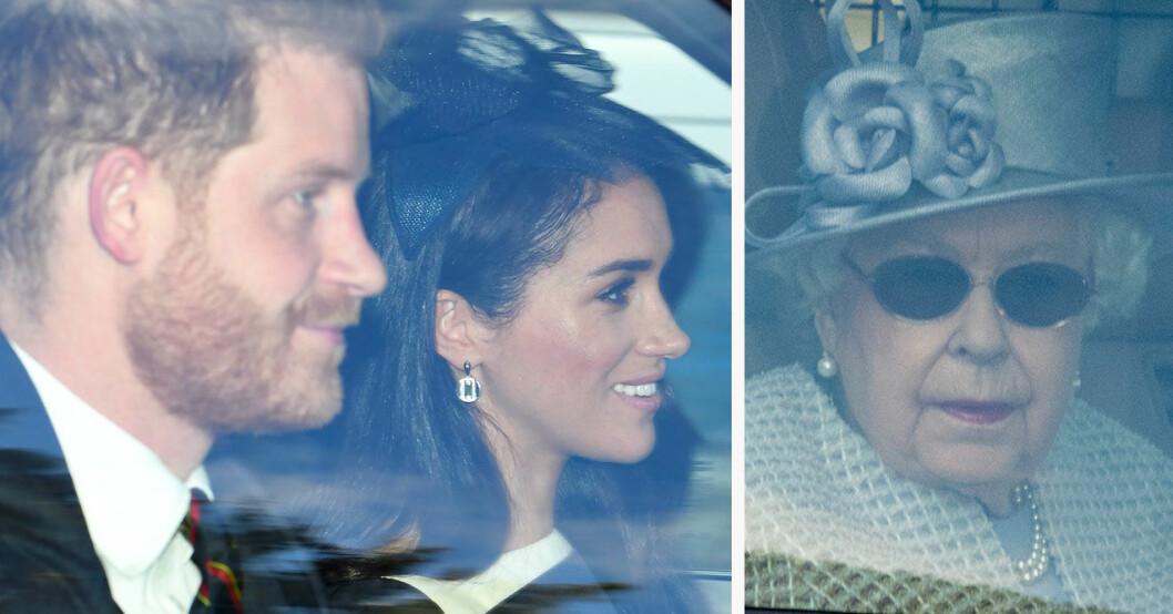 Prins Harry och Meghan och drottning Elizabeth.