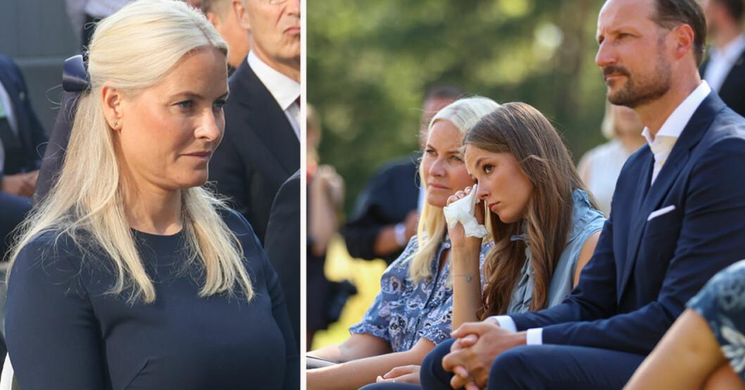 Kronprinsessan Mette-Marit, prinsessan Ingrid Alexandra och kronprins Haakon 22 juli 2021S
