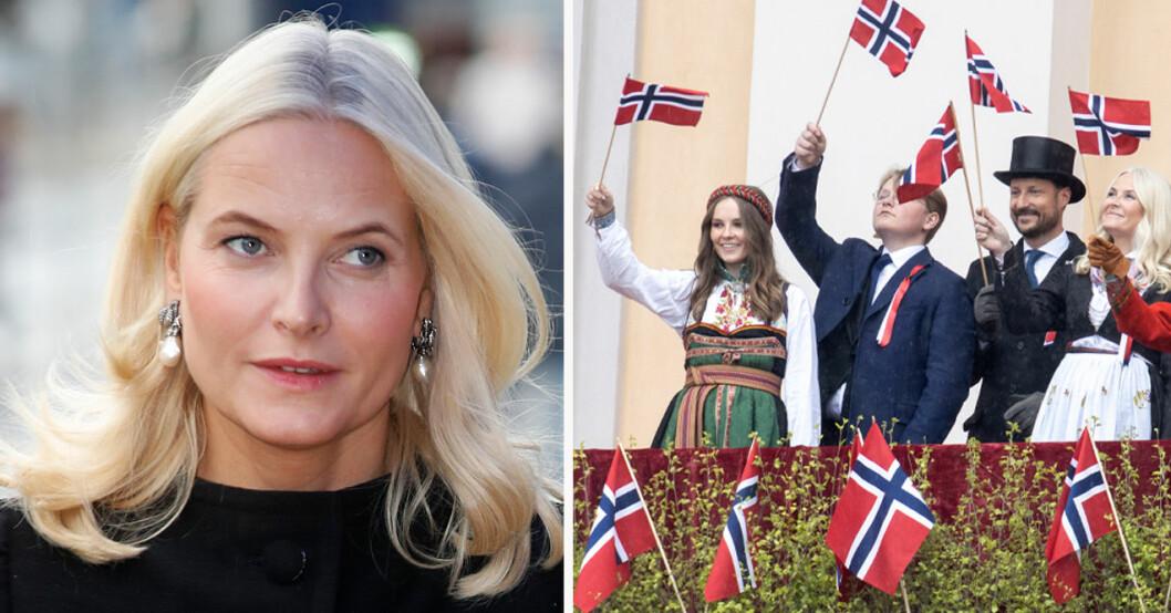 Kronprinsessan Mette-Marit, prinsessan Ingrid Alexandra, prins Sverre Magnus och kronprins Haakon