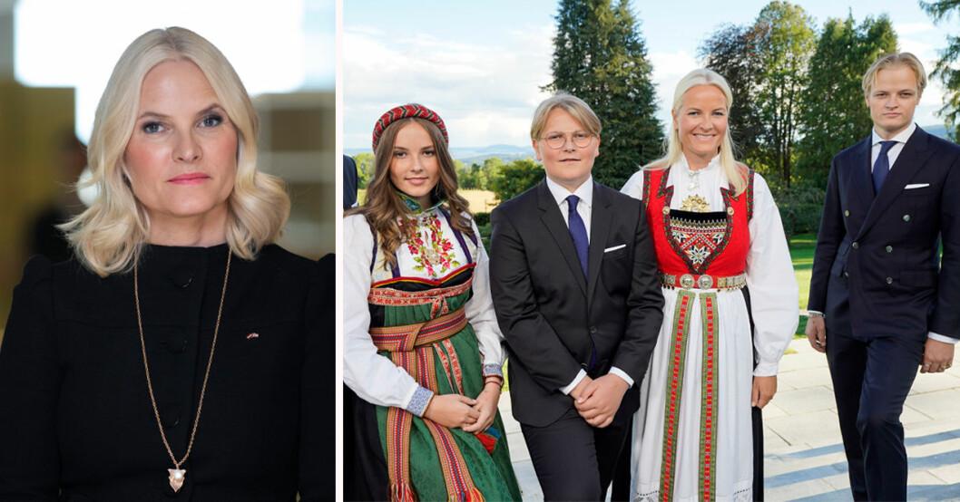 Kronprinsessan Mette-Marit, prinsessan Ingrid Alexandra, prins Sverre Magnus, Marius Borg Høiby