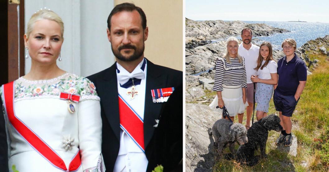 Kronprinsessan Mette-Marit, kronprins Haakon, prinsessan Ingrid Alexandra, prins Sverre Magnus, hunden Milly och hunden Muffins