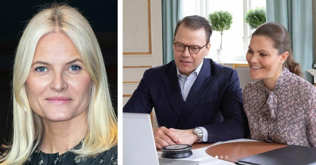 Kronprinsessan Victoria och prins Daniel har videomöte med Mette-Marit och Haakon