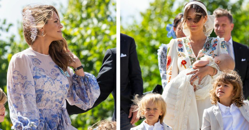 Prinsessan Madeleine och prinsessan Sofia vid prins Julians dop 2021
