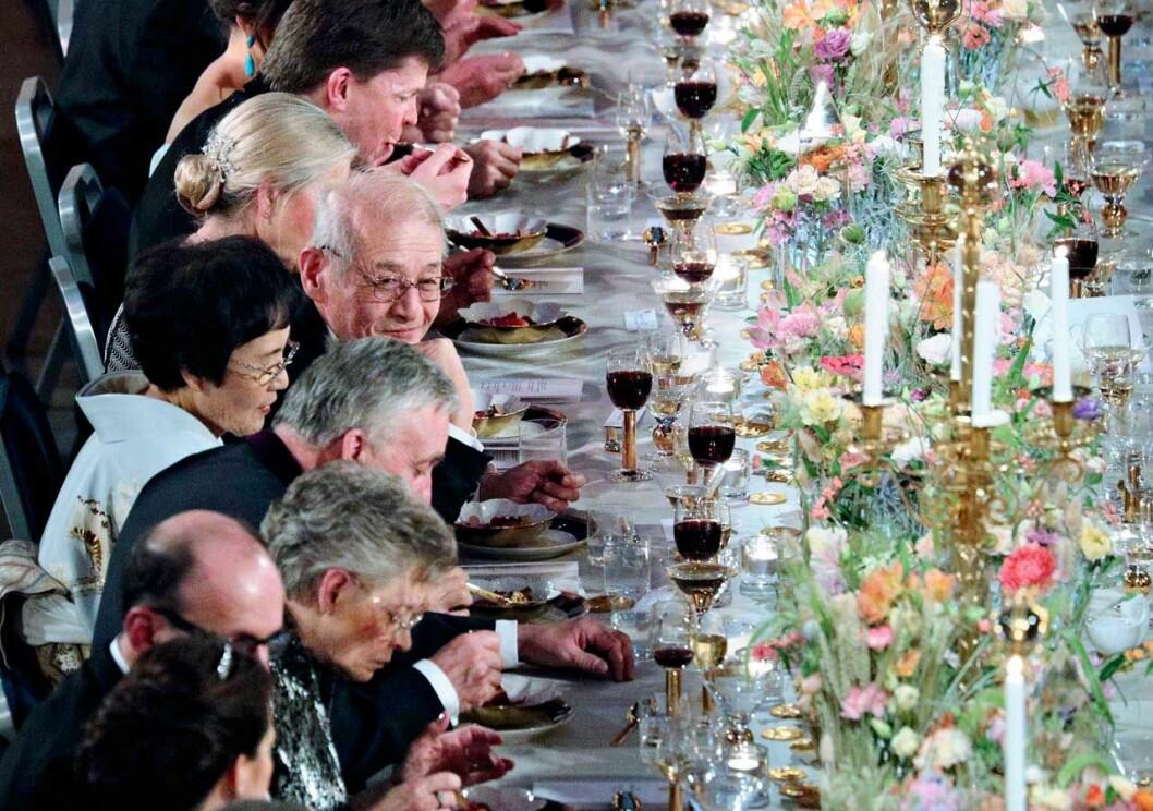 Blommorna på honnörsbordet vid Nobelfesten 2019.