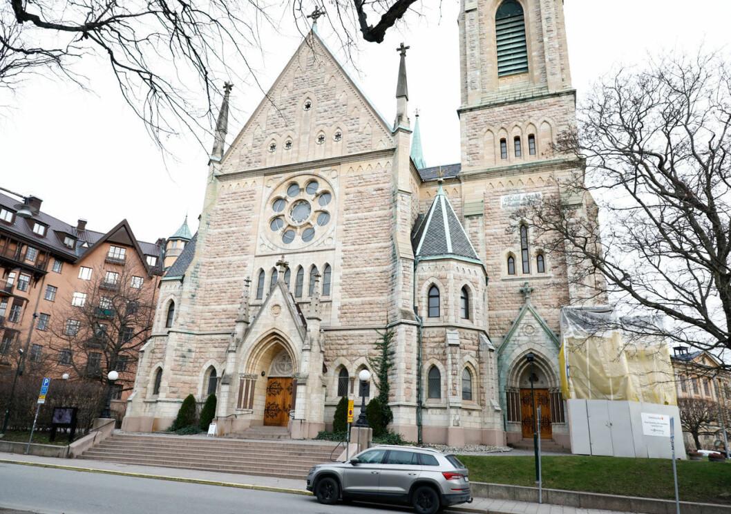 Oscarskyrkan i Stockholm där kungafamiljen tog farväl av Dagmar von Arbin.