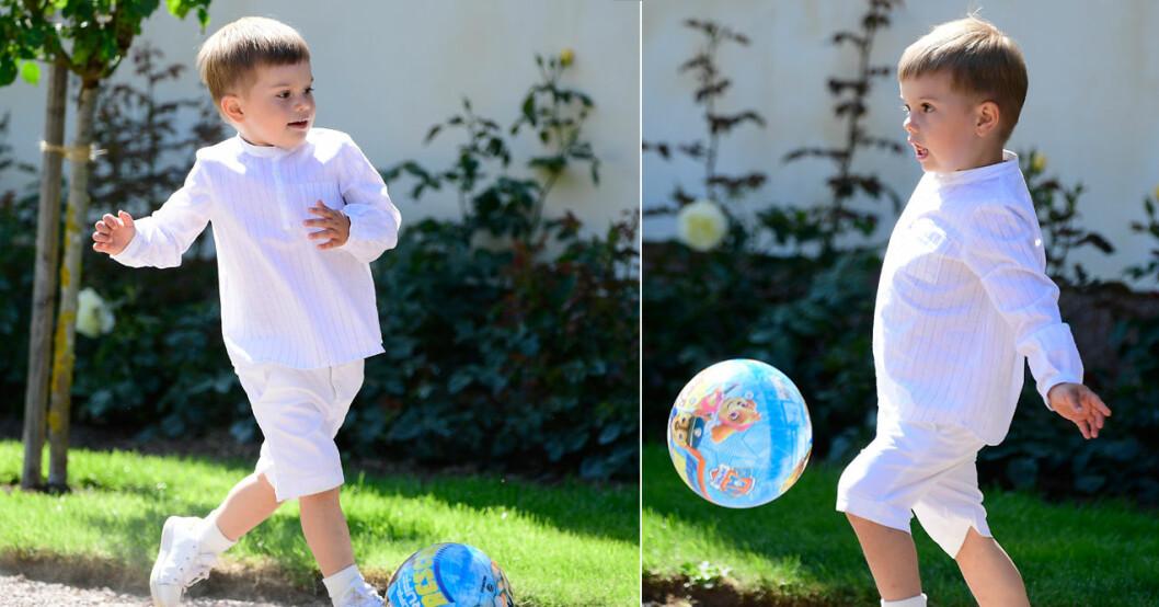 prins ocar spelar fotboll på victoriadagen