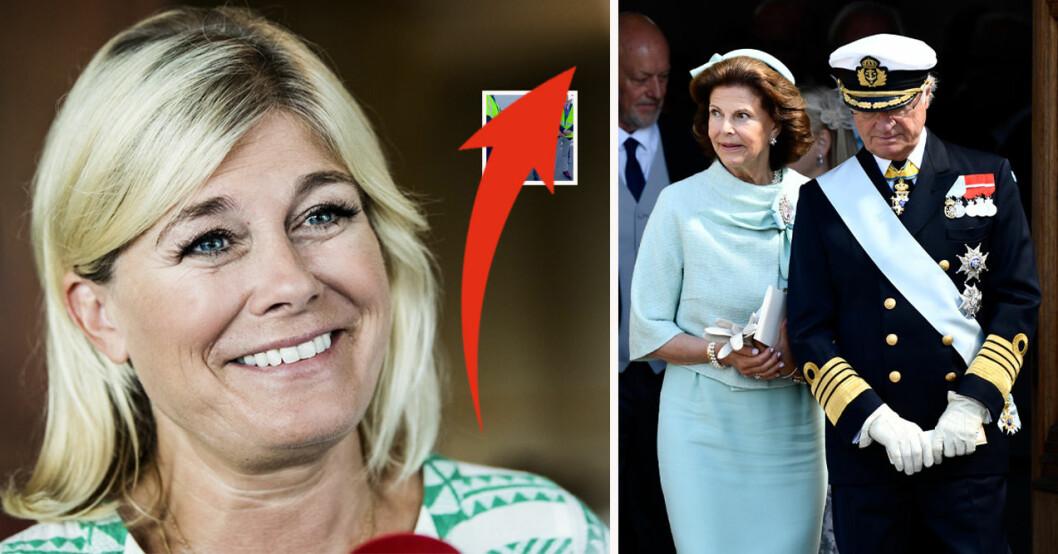 Pernilla Wahlgren, drottning Silvia och kung Carl Gustaf