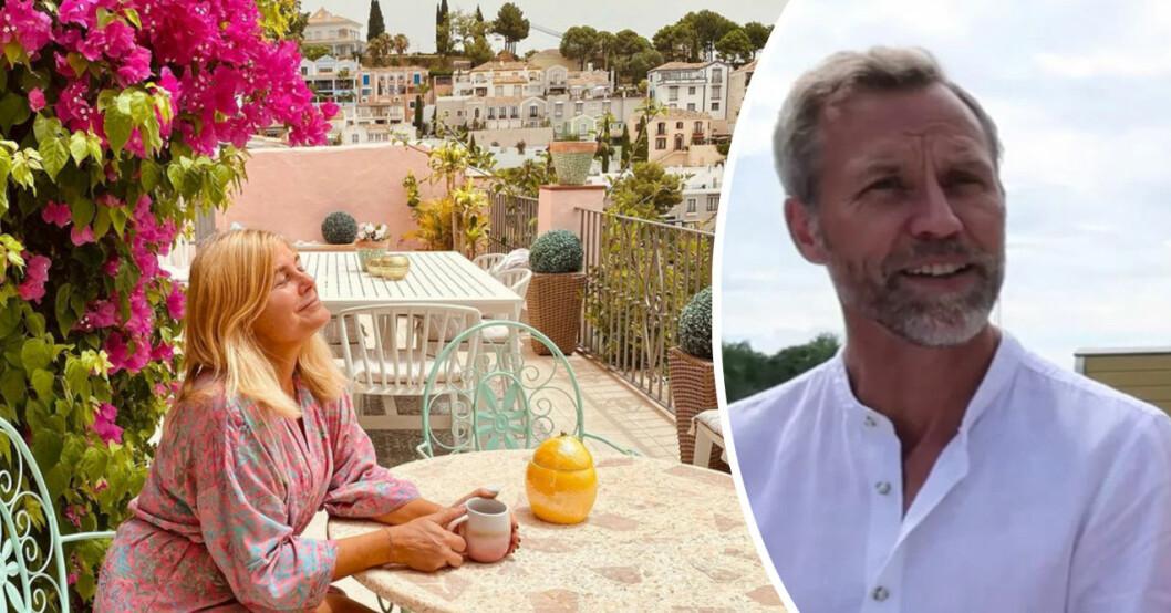 Pernilla Wahlgren är på semester i sitt hus i Spanien. Men pojkvännen Christian Bauer har stannat hemma.