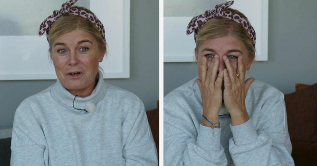 Kvinnans ord om Pernilla Wahlgrens nya kärlek får henne att brista ut i tårar