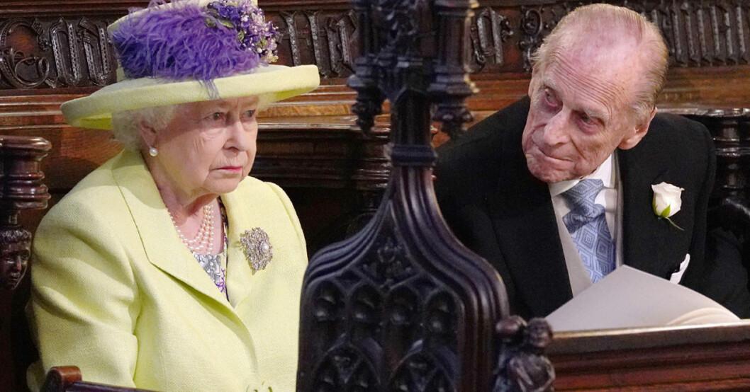 Drottning Elizabeth och prins Philip på prins Harry och Meghan Markles bröllop