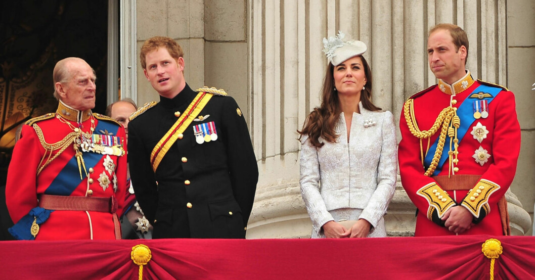 Prins Philip, prins Harry, Kate Middleton, prins William