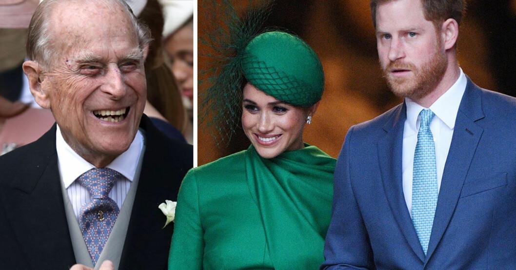 Prins Philip, Meghan och prins Harry.