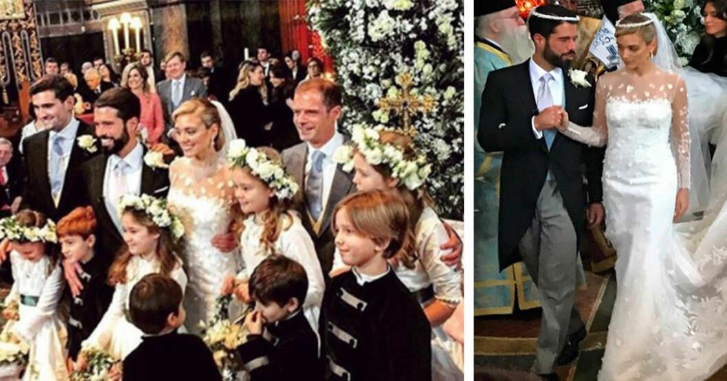 Gästernas bilder från societetetslejonen Filippos Lemós och Marianne Goulandris bröllop