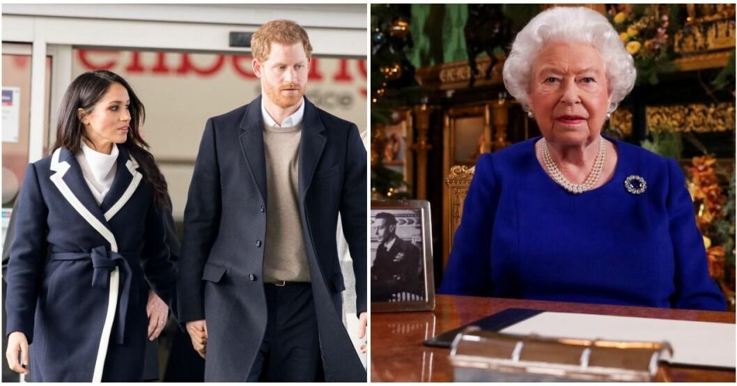 Prins Harry och Meghan fick inte vara med bland fotografierna på drottningens bord.