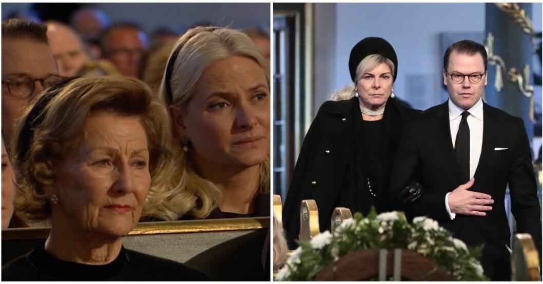 Prins Daniel fällde tårar under Ari Behns dotters tal.