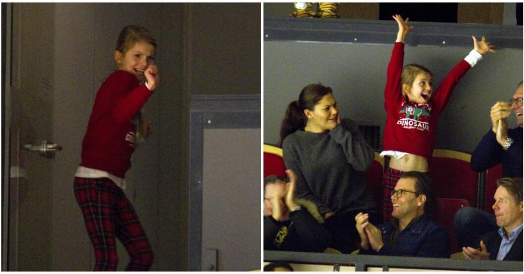 Estelle ställde till med show på hockeymatchen i Gävle.