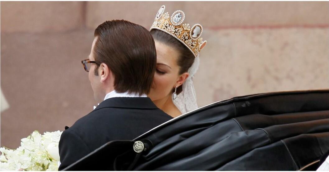 Kronprinsessan Victoria och prins Daniel på bröllopsdagen.