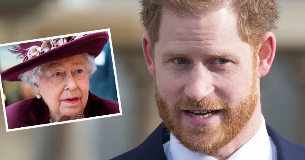Prins Harry och drottning Elizabeth.