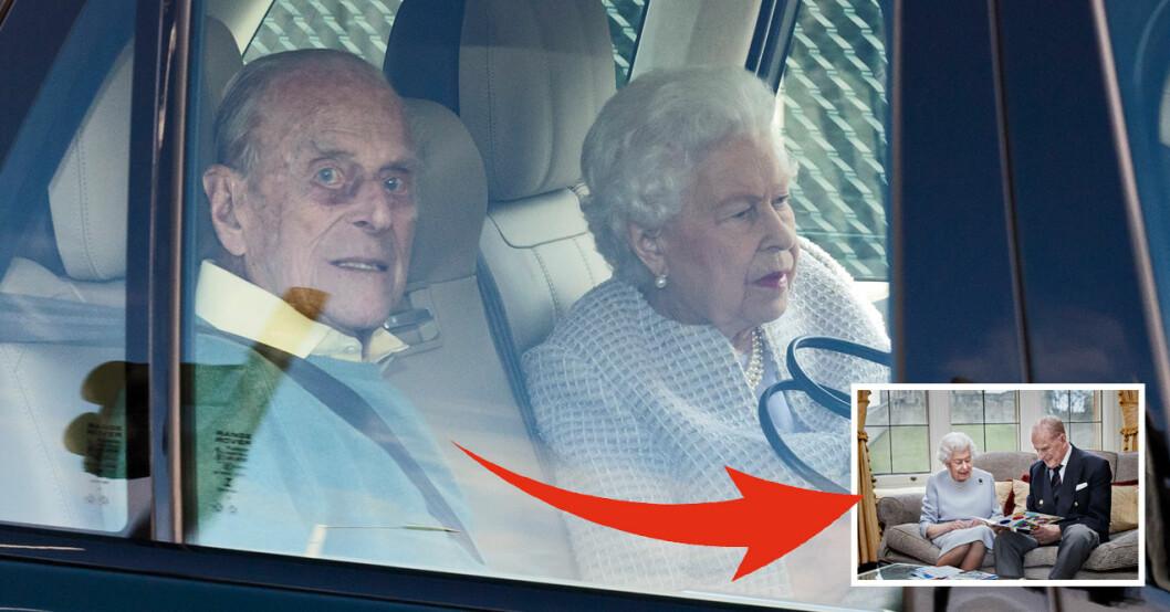 Prins Philip Drottning Elizabeth i bilen