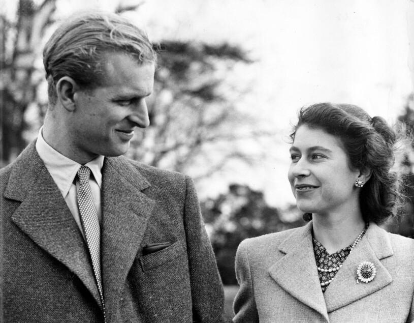 Prins Philip Drottning Elizabeth som unga Nygifta 1947