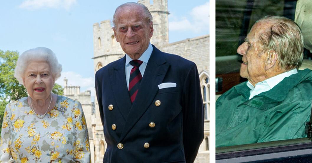 Drottning Elizabeth med prins Philip som fyller 99.