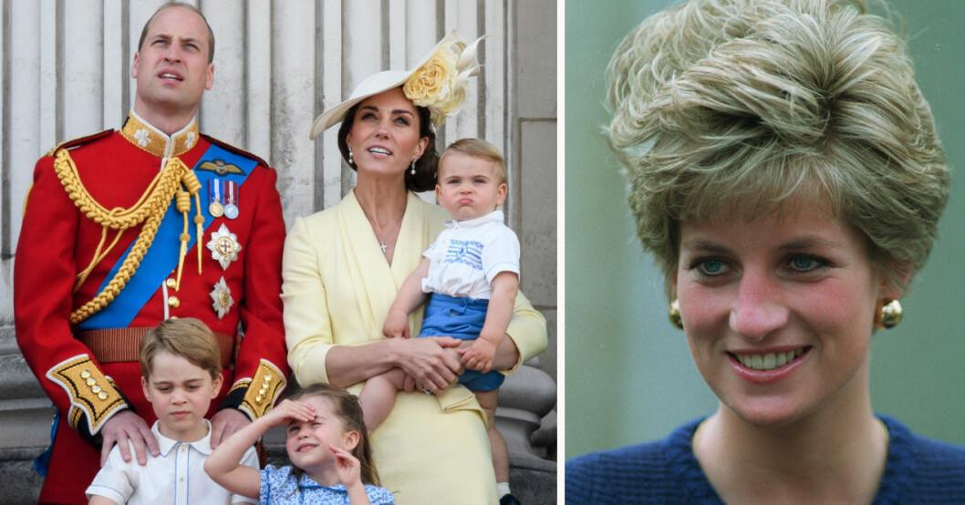 Prins William, Kate Middleton, prins George, prins Louis, prinsessan Charlotte och prinsessan Diana