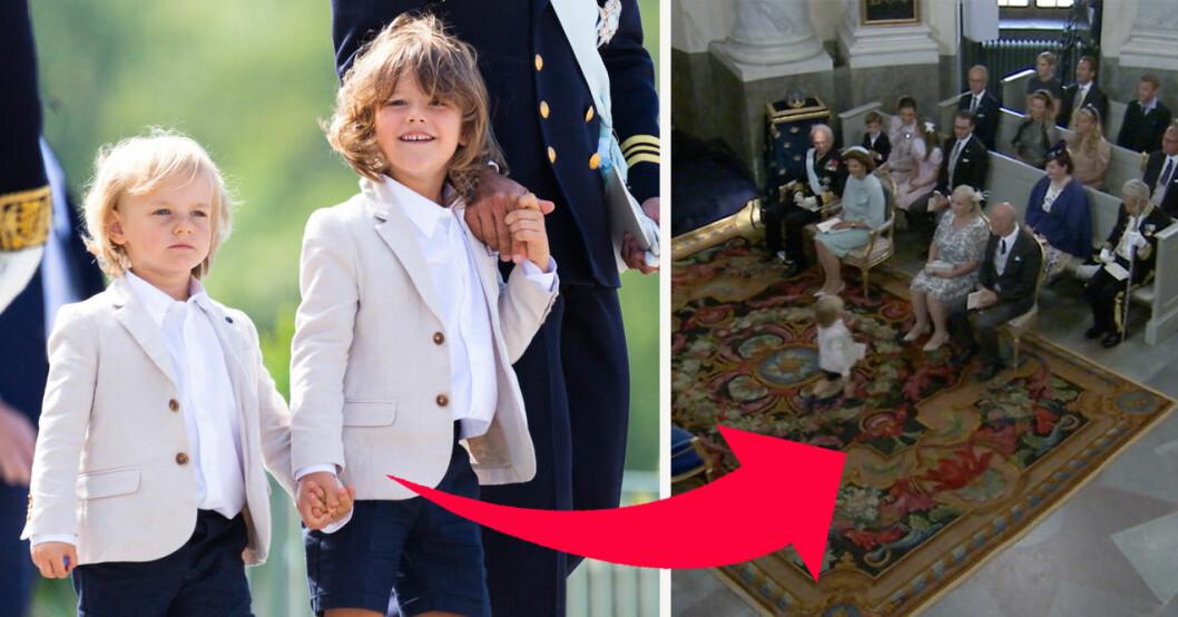Prins Gabriel och prins Alexander på prins Julians dop 2021