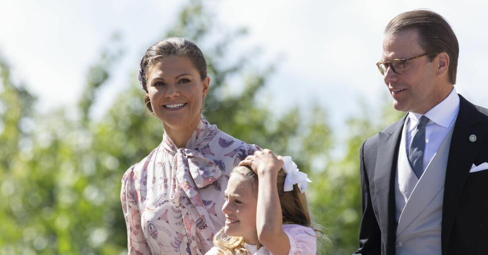 Kronprinsessan Victoria och prins Daniel på prins Julians dop 2021