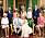 Brittiska kungafamiljen Archies dop 2019. I mitten prinsessan Dianas systrar Sarah och Jane.