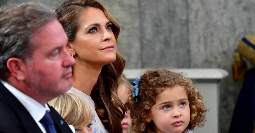 Prinsessan Madeleine och Chris O'Neill på prins Julians dop 2021