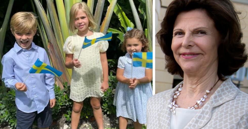 Drottning Silvia och barnbarnen Nicolas Leonore Adrienne