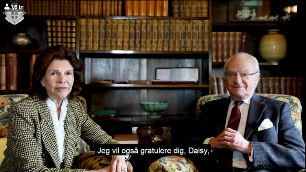 Drottning Silvia i hyllningsvideon.
