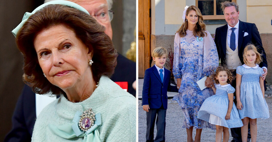 Drottning Silvia, prins Nicolas, prinsessan Madeleine, Chris O'Neill, prinsessan Adrienne, prinsessan Leonore
