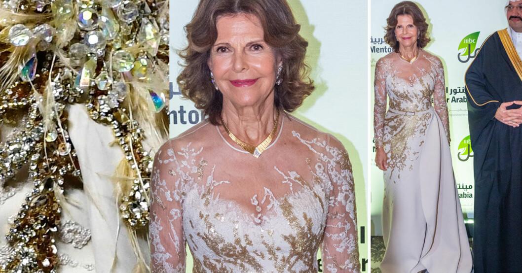 Drottning Silvia i en Elie Saab-klänning under besöket i Libanon.