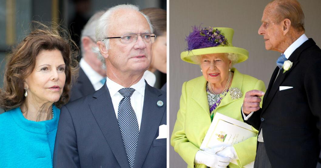 Drottning Silvia, kung Carl Gustaf, drottning Elizabeth och prins Philip