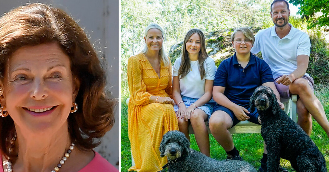 Drottning Silvia och Mette-Marit Haakon Ingrid Alexandra och Magnus plus hundarna.