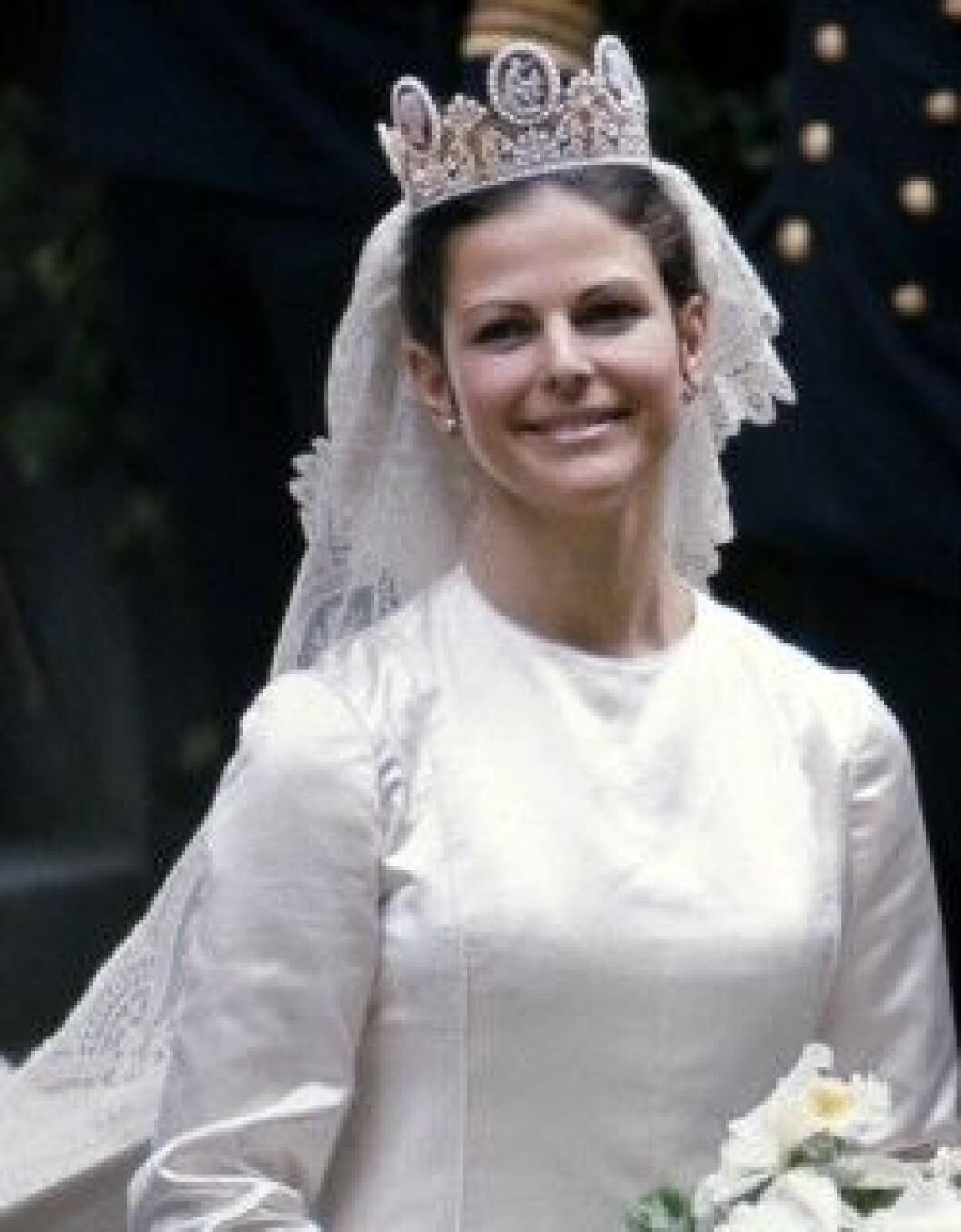 Drottning Silvia som brud 19 juni 1976.