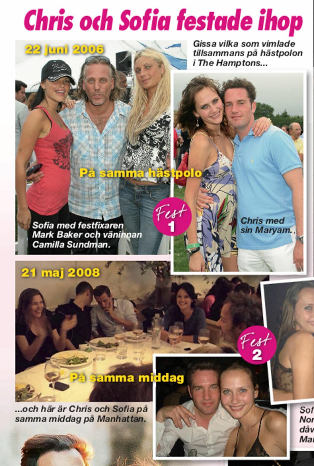 Bilderna på Chris O'Neill och Sofia Hellqvist när de festade tillsammans i New York 2006 och 2008.