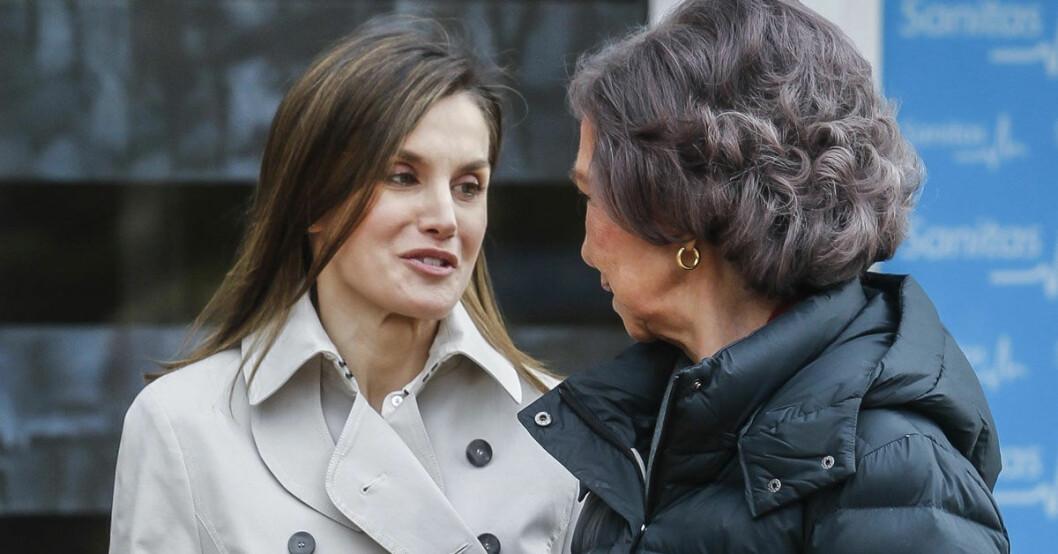 Drottning Letizia och exdrottning Sofia.