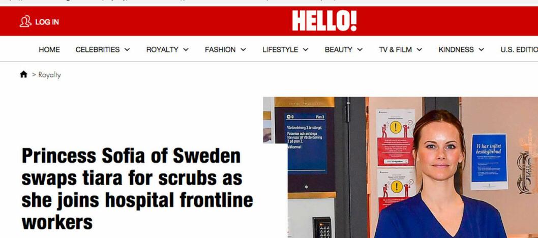 Brittiska Hello lyfter prinsessan Sofias nya jobb i vården.