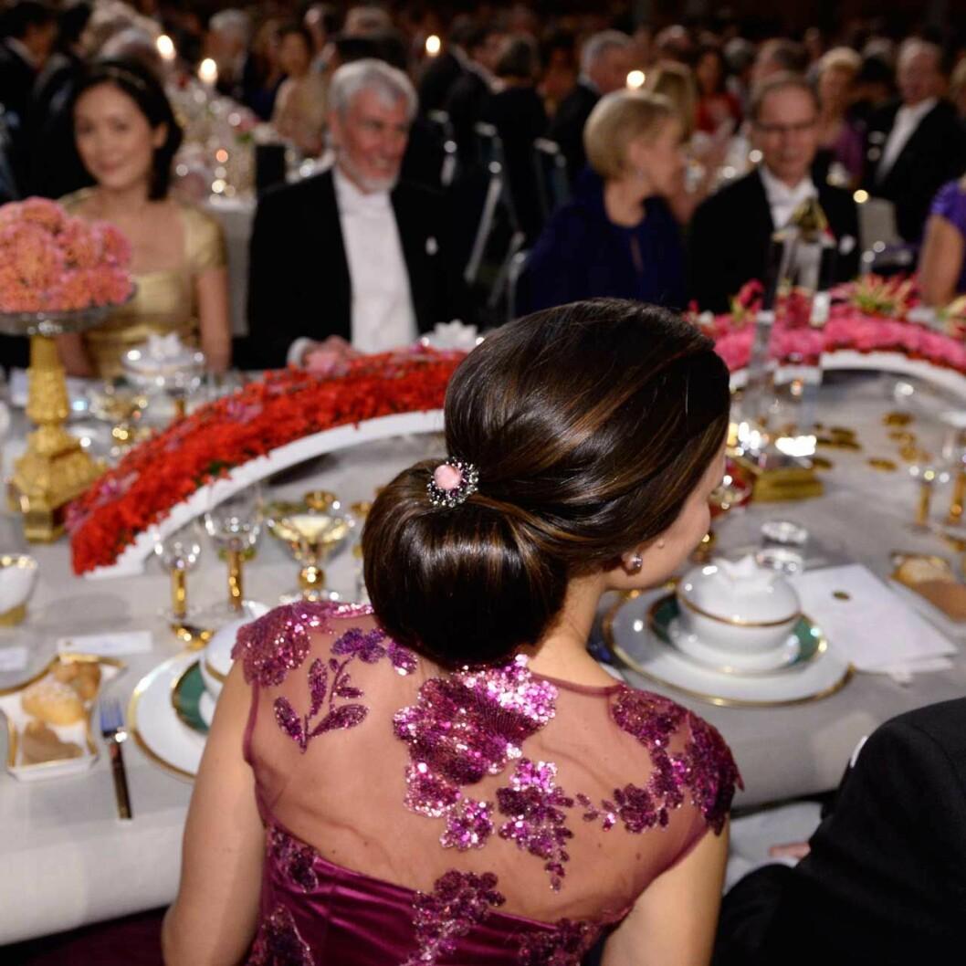 Prinsessan Sofia (som då hette Hellqvist) på sin första Nobelfest 2014.