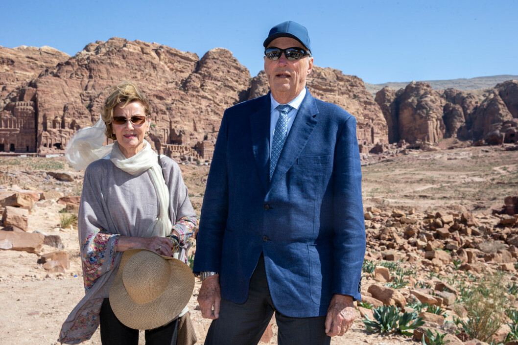 Kung Harald och drottning Sonja i Jordanien.