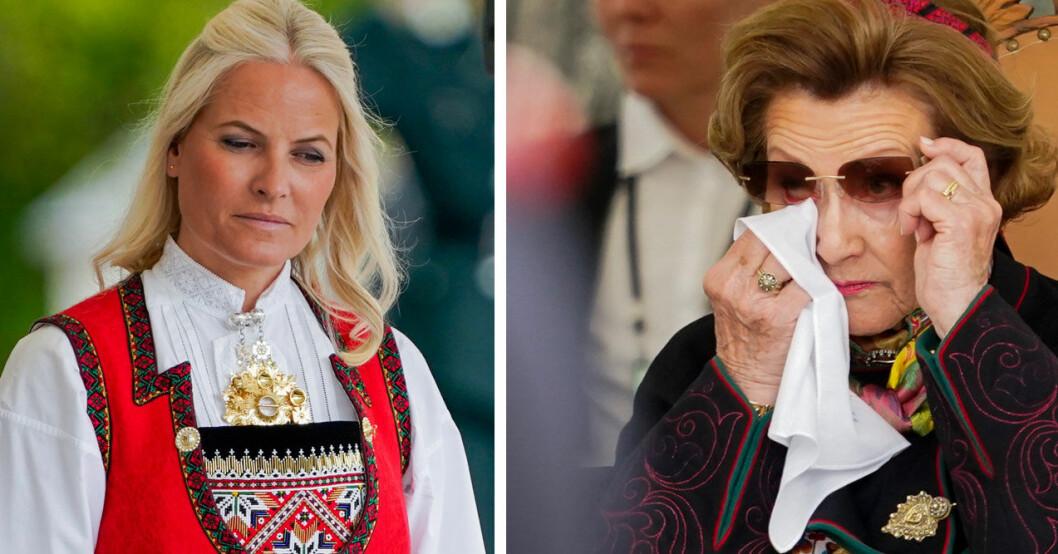 Det var en känslosam stund för både Mette-Marit och Sonja.