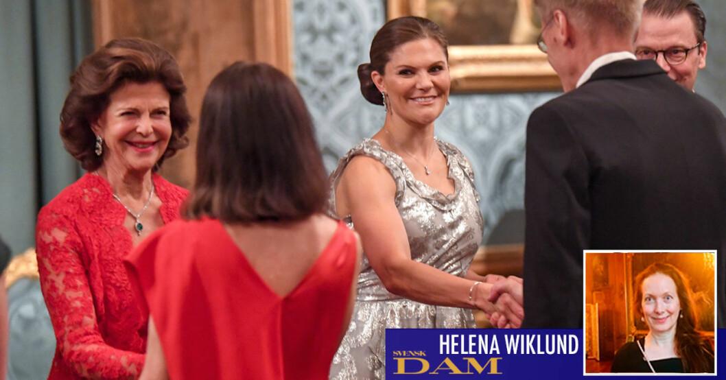 Drottning Silvia och kronprinsessan Victoria vid Sverigemiddagen 2019 på Stockholms slott.