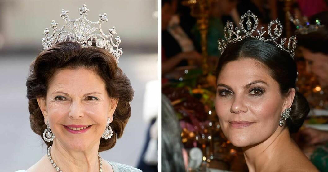 Tiara på Silvia och kronprinsessan i diadem