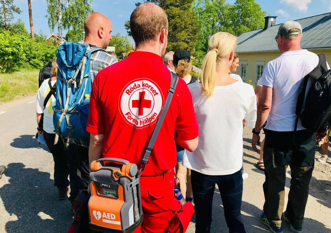 Sjukvårdspersonal var med under kronprinsessan Victorias vandring i Gästrikland.