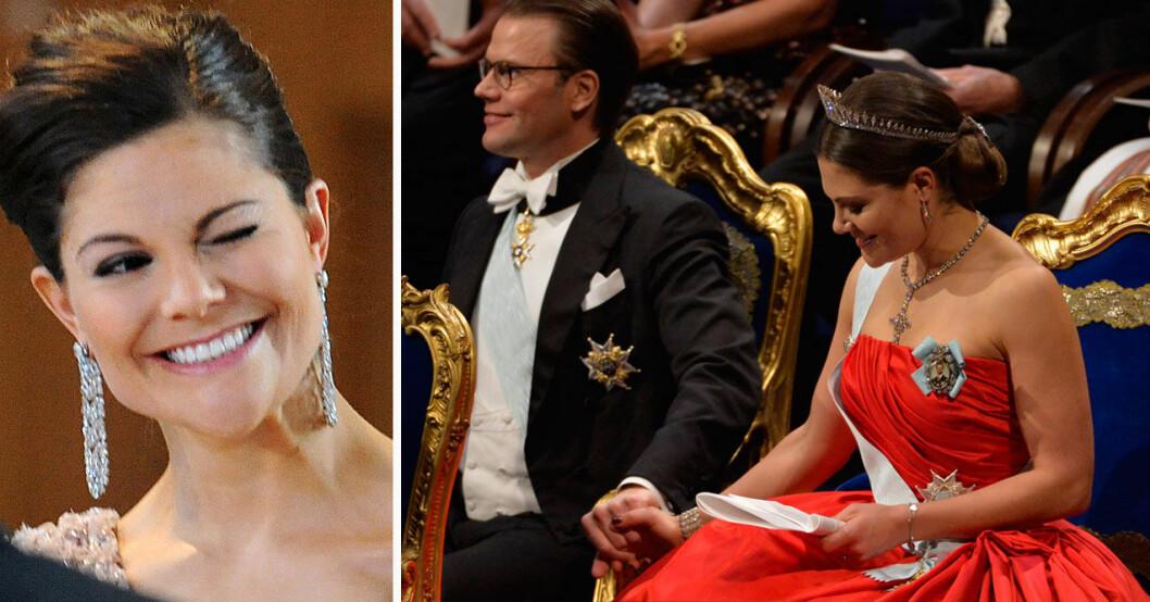 Kronprinsessan Victoria och prins Daniel håller hand på Nobelfesten.