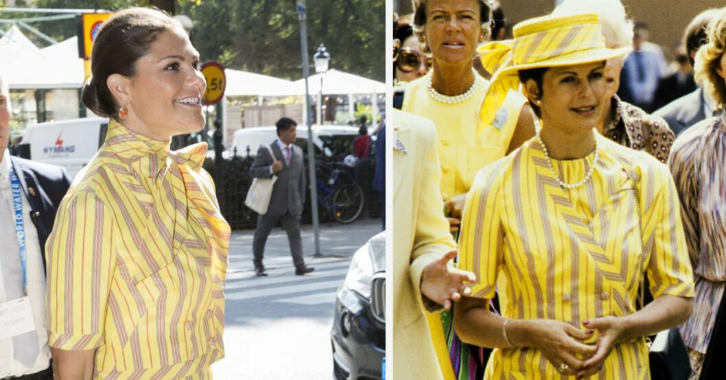 Kronprinsessan Victoria lånar drottning Silvias kläder