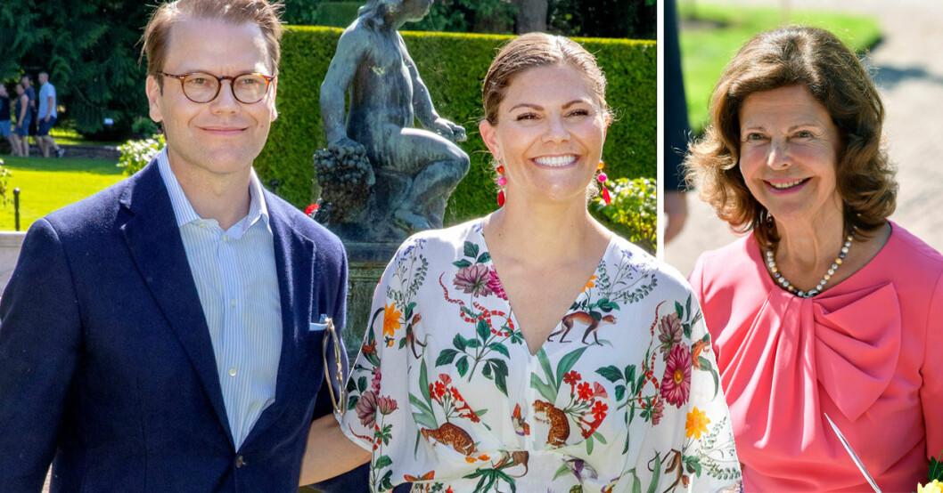 Kronprinsessan Victoria, prins Daniel och drottning Silvia på Solliden på Öland.