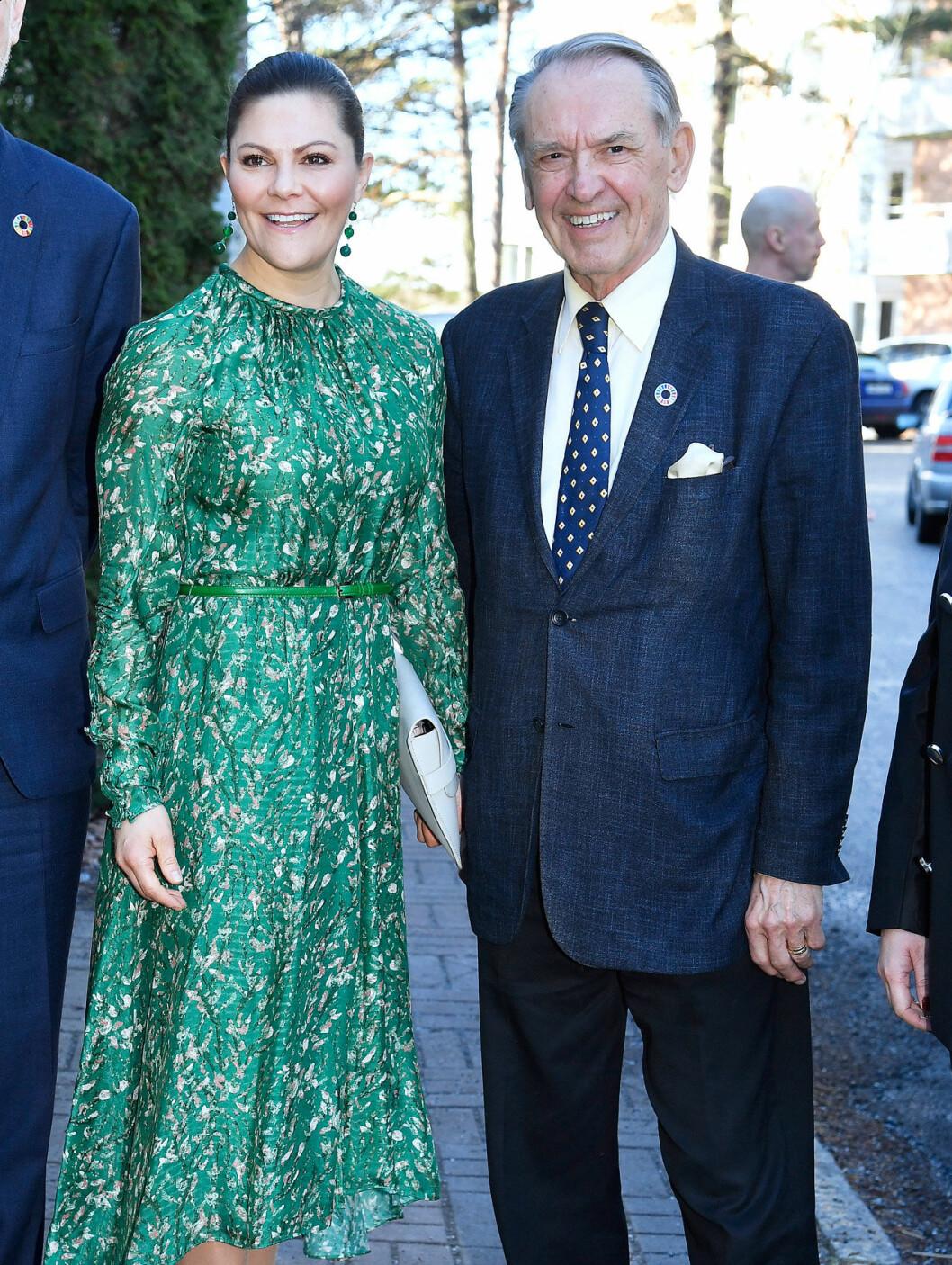 Jan Eliasson tog emot när kronprinsessan Victoria kom till SIPRI.